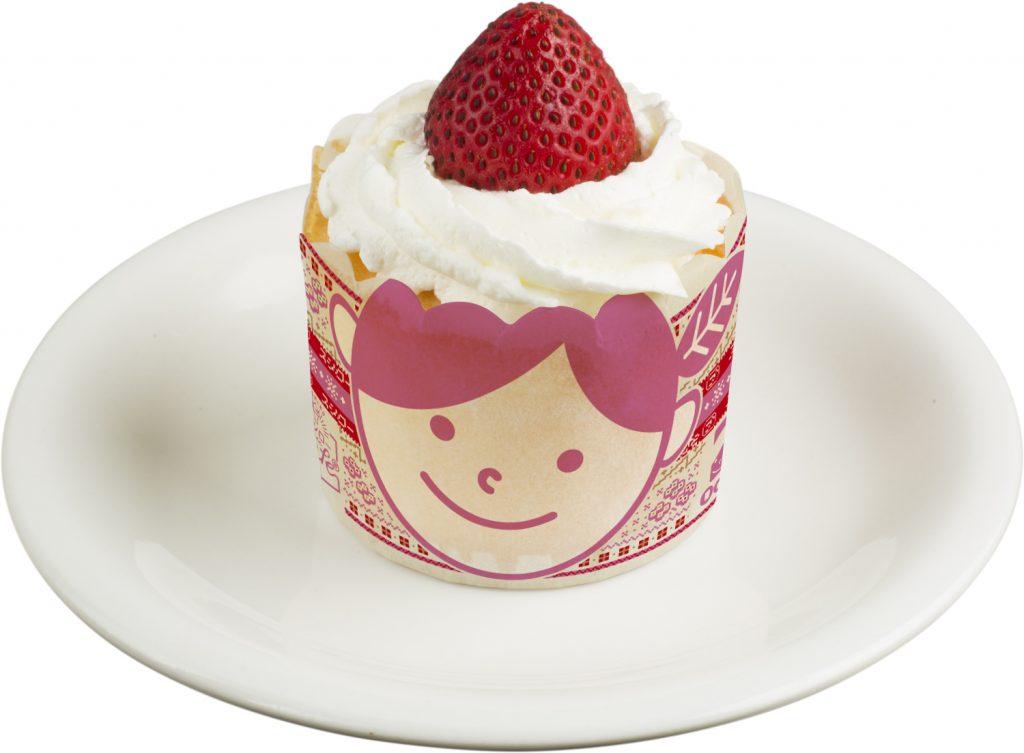 いちご帽子のカップケーキ