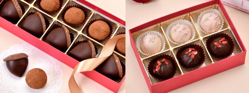 栗チョコレート&マロントリュフ、苺ミルクチョコレート&ストロベリートリュフ