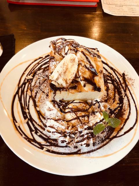 バナナとナッツのチョコキャラメルハニートースト