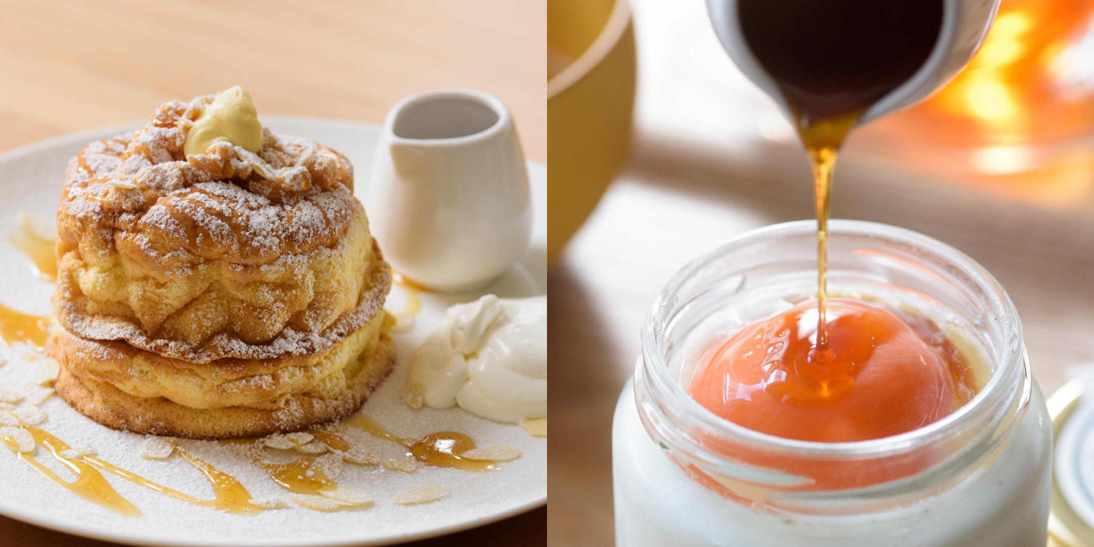 左:ふわふわ あおもりパンケーキ、右:あおもり生プリン