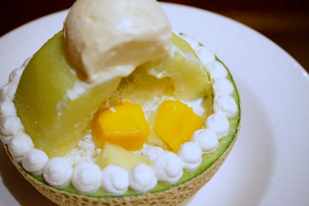 メロンのヨーグルトかき氷×ハーゲンダッツアイスクリーム